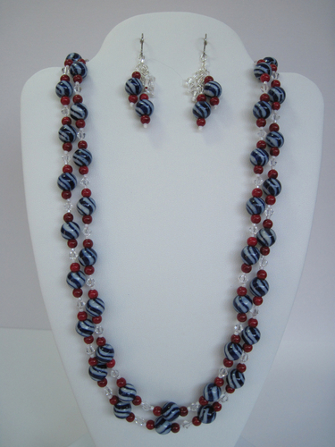 Red, White, and Blue Necklace and Earrings