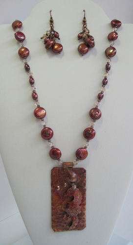 Copper Seahorse Necklace and Earrings