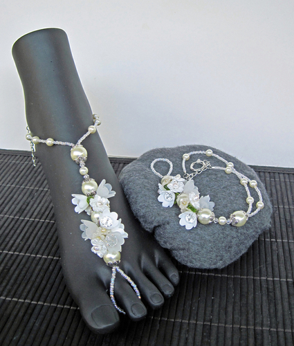 White and Ivory Barefoot Sandals