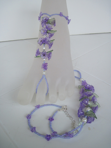 Purple Acrylic Flower Barefoot Sandals