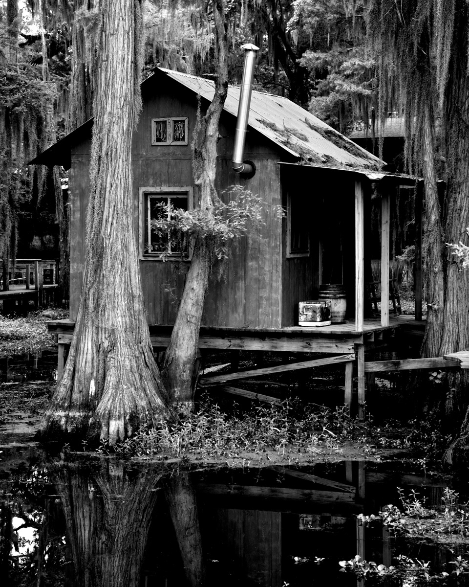 Landscape black white photography fishing cabin on for Fishing cabins in louisiana