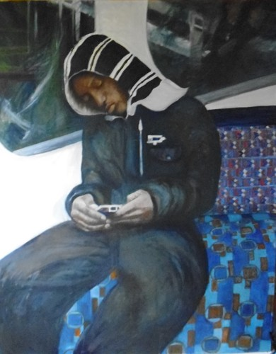 Boy on tube-absorbed