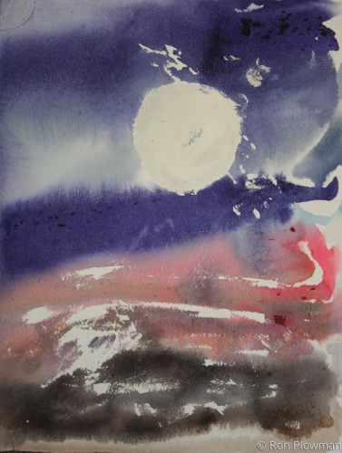Abstract Landscape With Full Moon