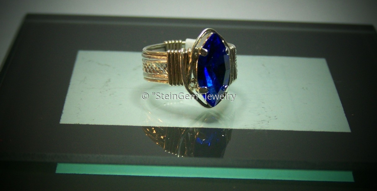Gold filled with Aluminum Pattern Wire - Marquise Crystal Ring (large view)
