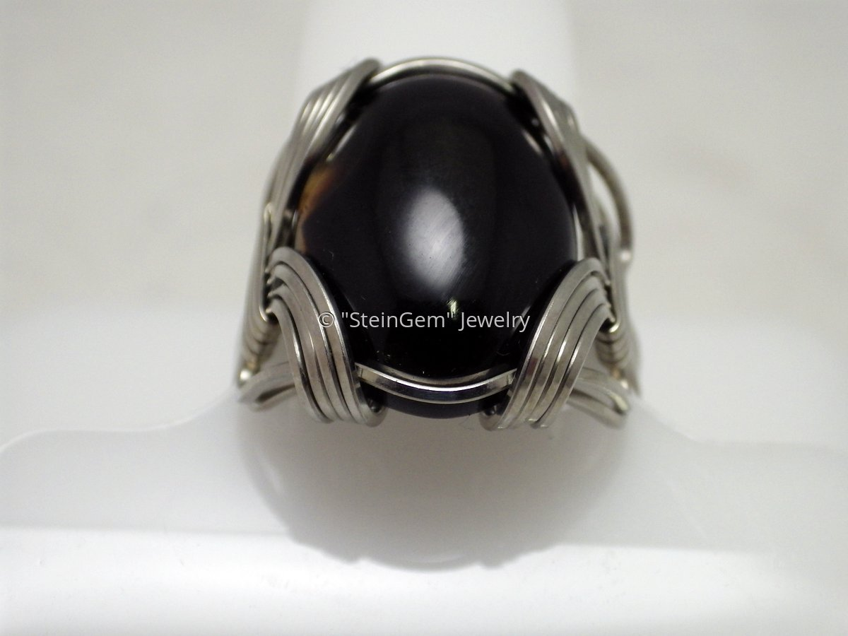 Stainless Steel & Onyx Ring (large view)