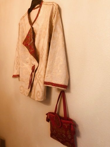Gold Embossed Linen Jacket w/ Contrasting Bag by R. Fallon Artist/Designer