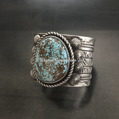 Sterling Stone Natural Number 8 Turquoise wide cuff by Regnar Greenstone Jr.