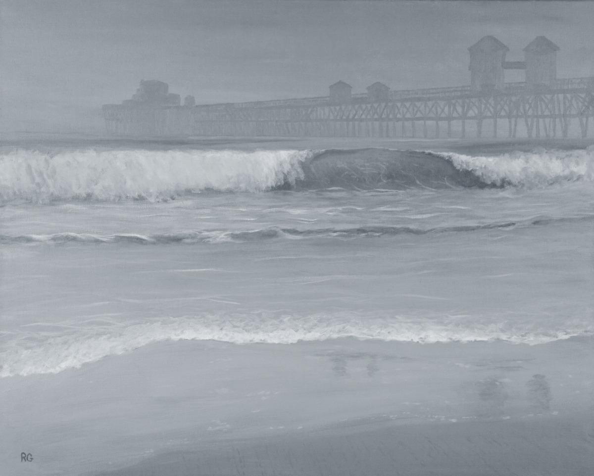 Landscape Acrylic Paintings Oceanside Pier In Fog By Ray