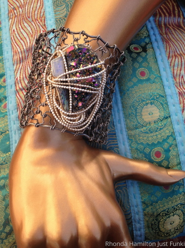 Sterling Silver Titanium Drusy Moonstone Biwa Pearl Cuff Bracelet