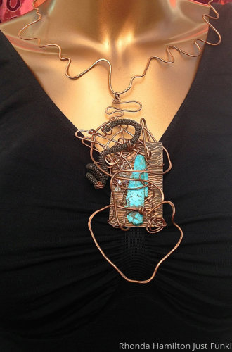 Oxidized Copper Turquoise Wire Wrapped Necklace