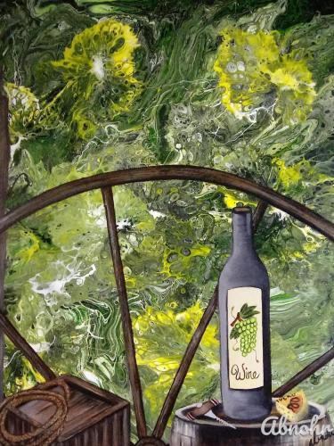 Wagon Wheel Wine by Art By Abnohr