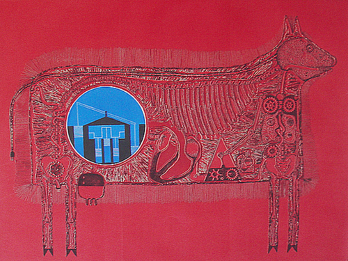 electric cow (intaglio) etching/print 1972 a/p nfs (edition is sold out) (large view)