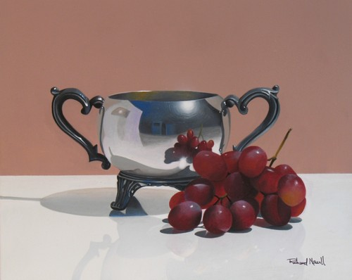 Silver Sugarbowl with Grapes
