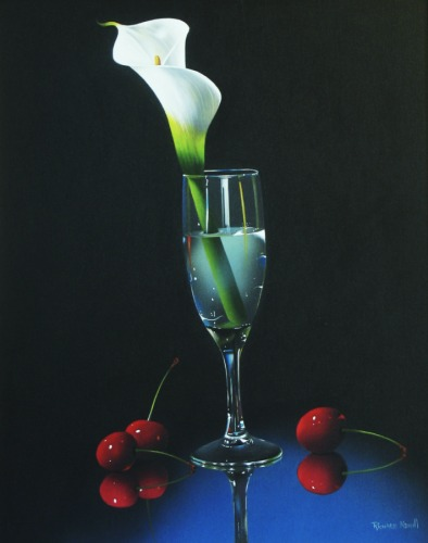 CALLA LILY WITH CHERRIES