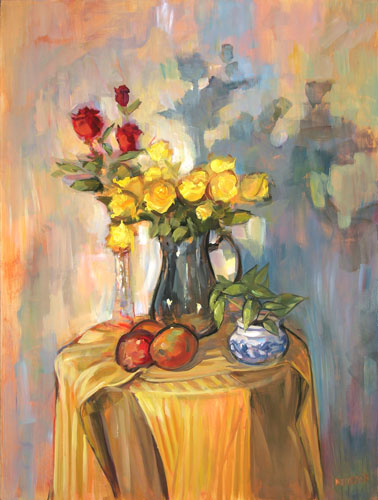 Roses in Pewter by Rick Reinert