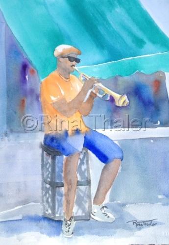 trumpet man watercolor study