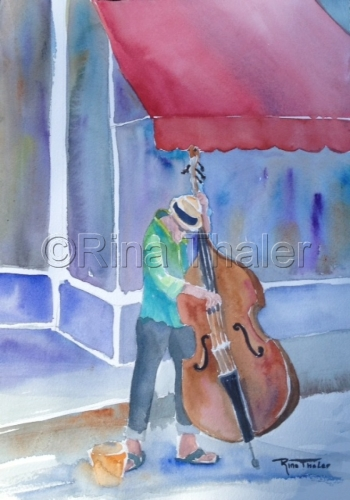 cello player watercolor