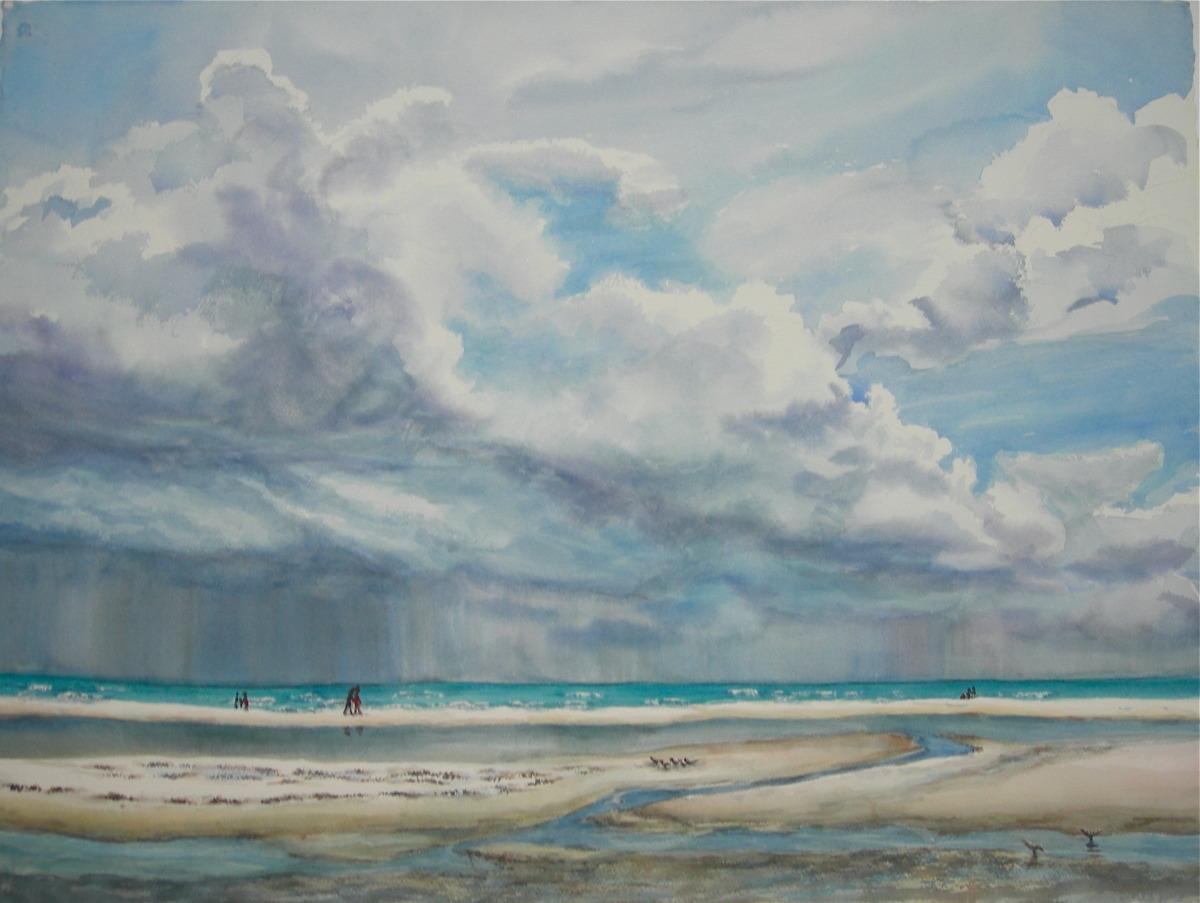 Siesta beach w/ storm clouds (large view)