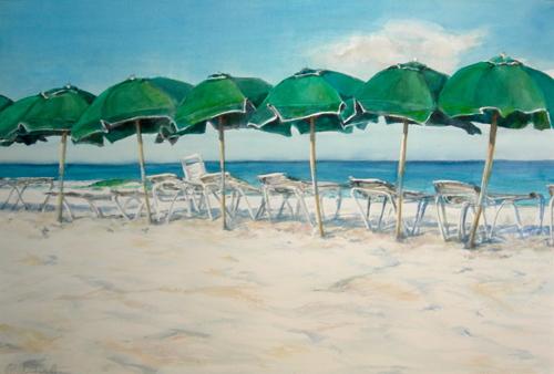 green umbrellas by rita rust