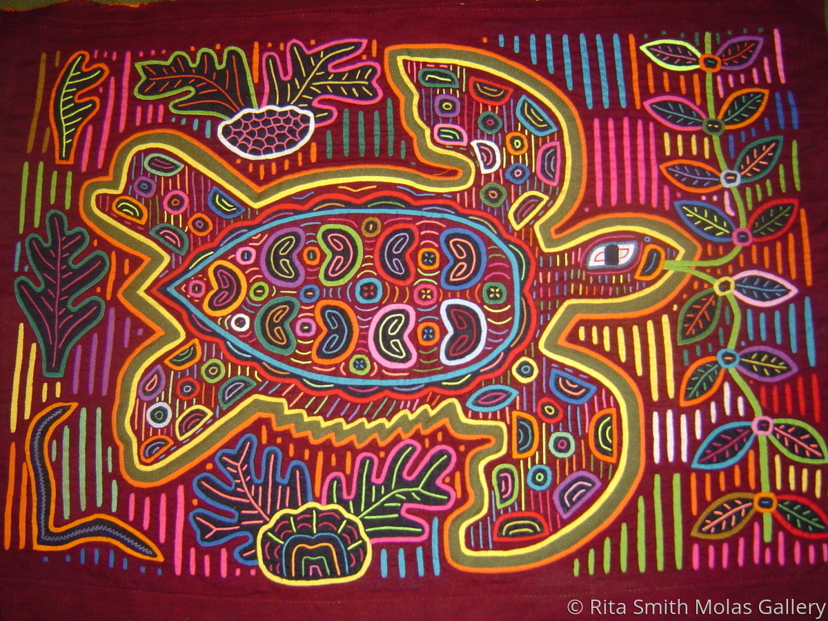 Turtle Molas Fabric Art Works San Blas Islands Mola Panama #112 (large view)