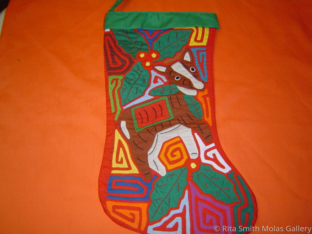 Mola Christmas Stocking Art Quilt San Blas Panama #161 (large view)