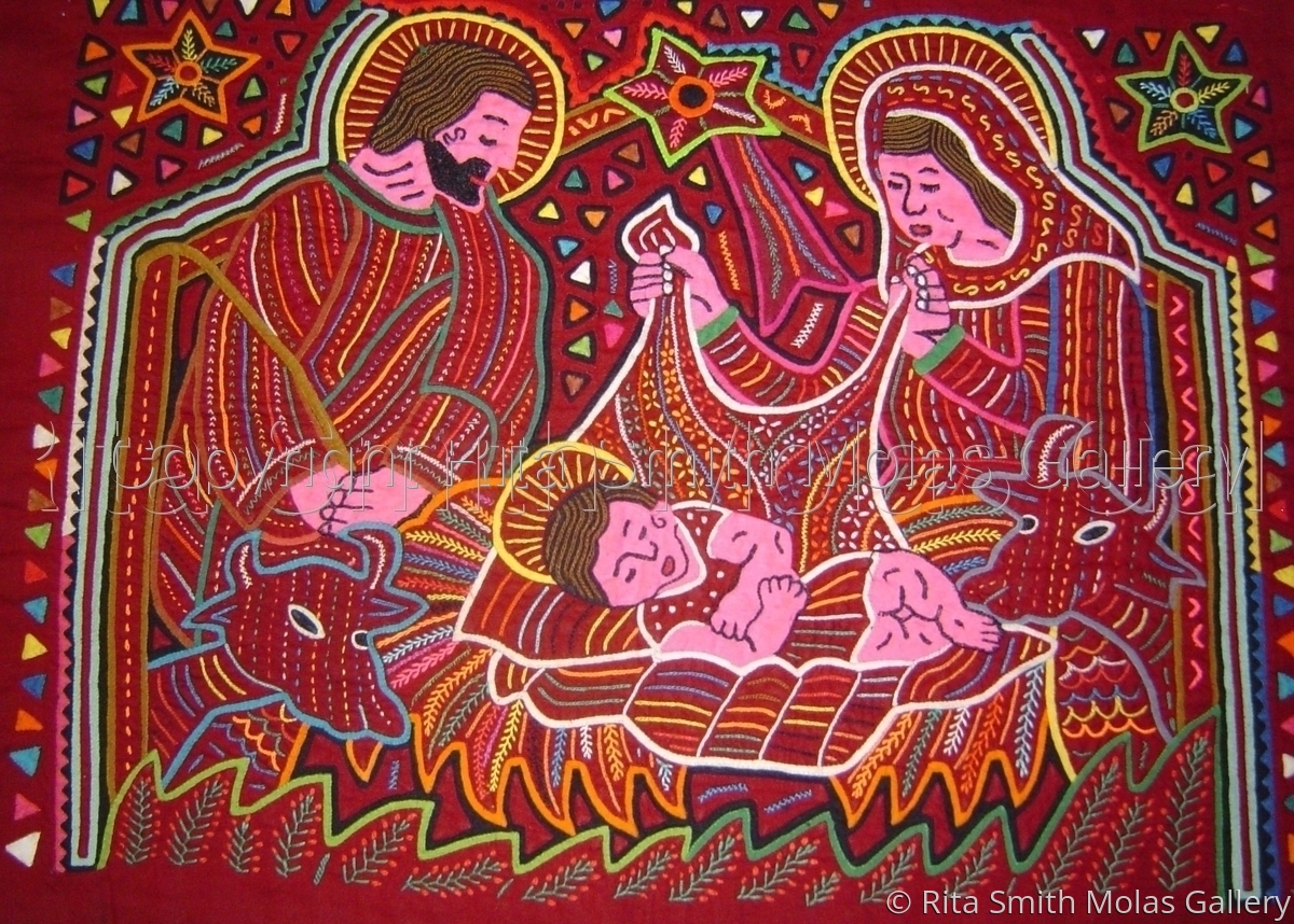 Nativity Scene Christmas Molas San Blas Panama (large view)