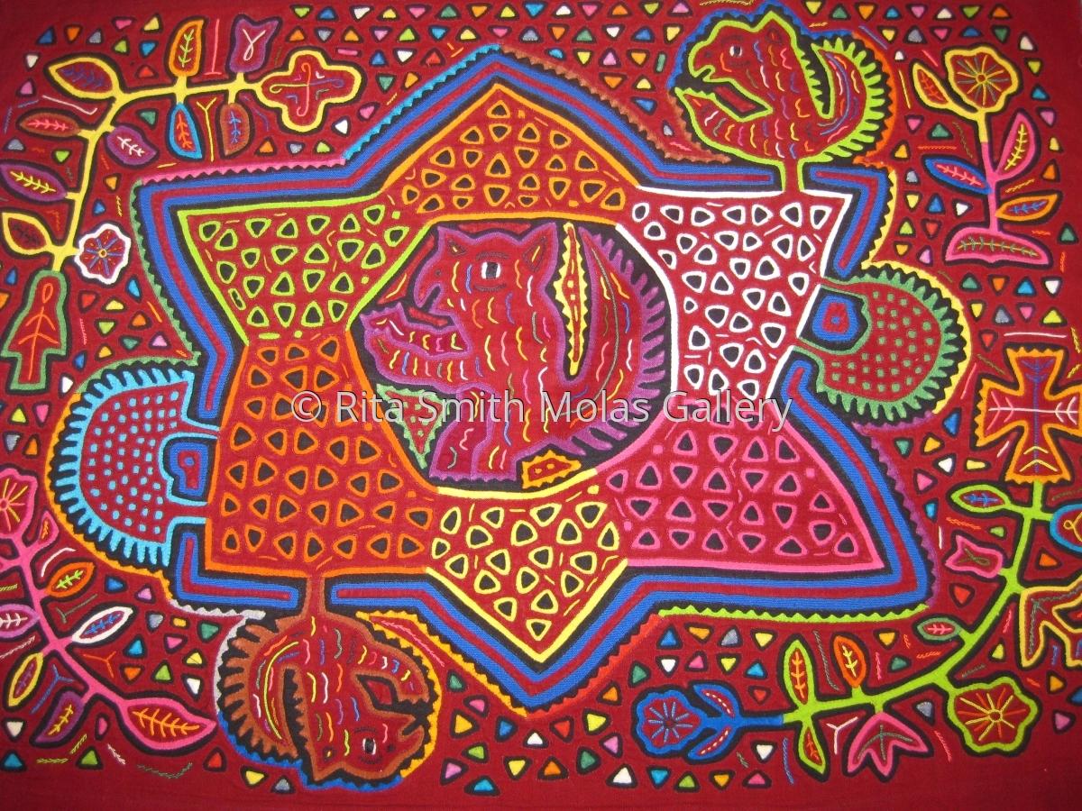 Mythology Mola Kunas San Blas Panama #1165 (large view)