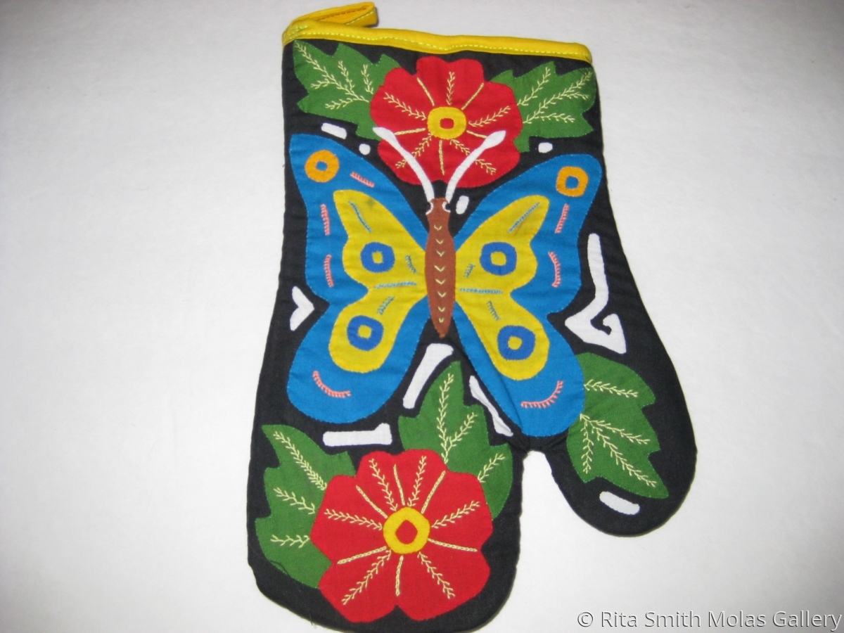 Butterfly Mola Oven Mitten #1221 (large view)
