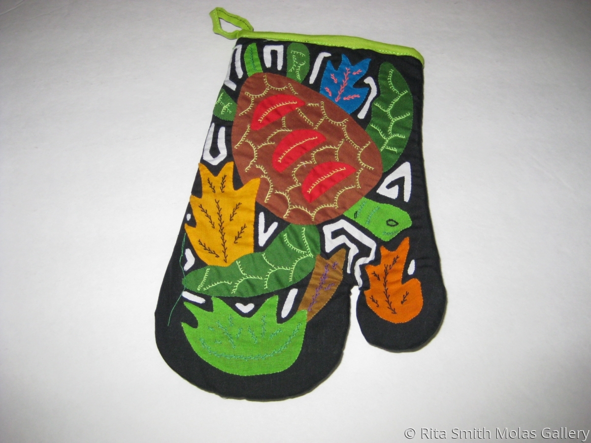 Turtle Mola Oven Mitten #1223 (large view)