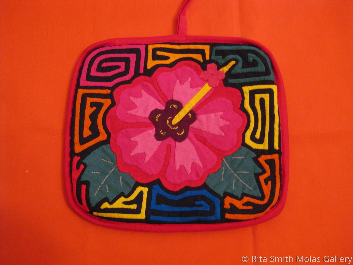 Flower Mola Quilt Square Pot Holder Kunas of San Blas Panama #334 (large view)