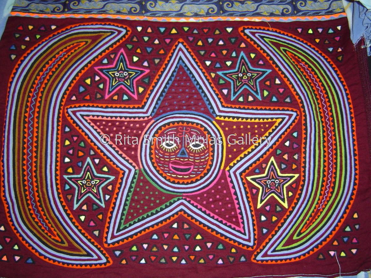 Celestial Mola Blouse Large Kuna Blouse Kuna Indians of San Blas Panama #464 (large view)