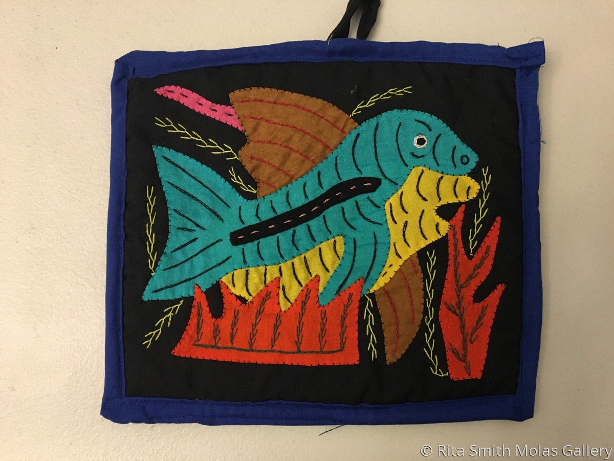 Fish Mola Pot Holder San Blas #1210 (large view)