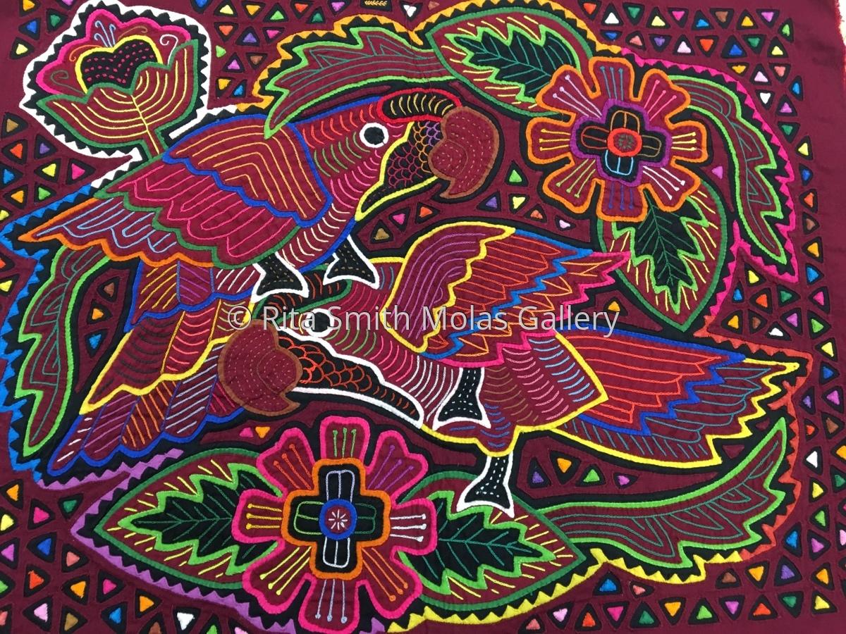 Bird Love Mola San Blas Panama #1306 (large view)