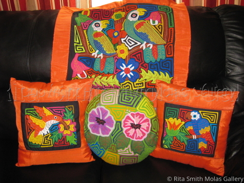 Mola Pillows and Mola Pillow Covers Kunas of San Blas Panama #452
