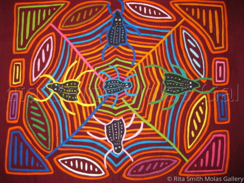 Spider Web Mola San Blas Panama #559 by Rita Smith Molas Gallery