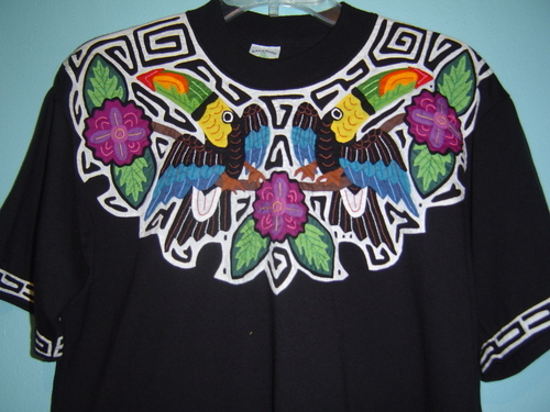Superb Mola T-shirt Mola Applique Women's Top Kuna San Blas Panama #1