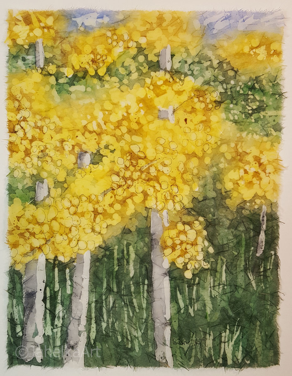 "Painting : ""Marshall Pass Aspens 4"" (Original art by JahelkaArt)"