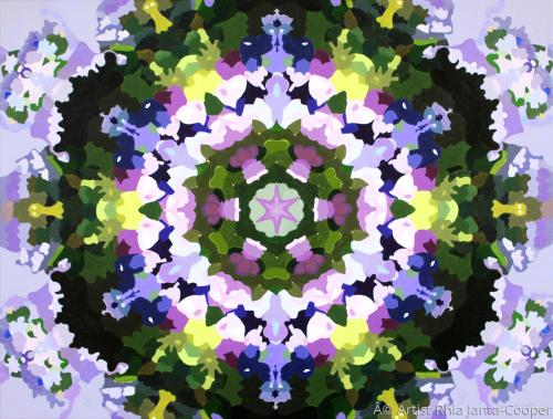 Kaleidoscope in Lavender, pattern art in symmetrical reflections