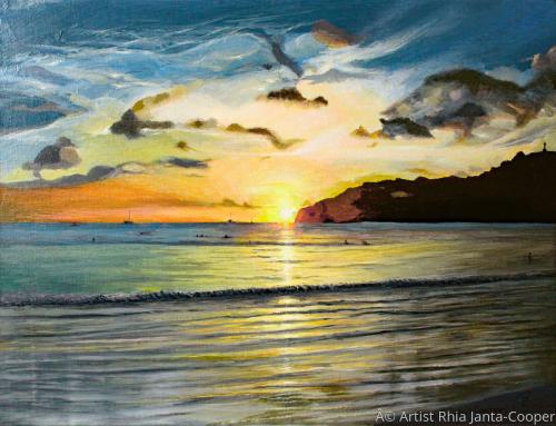 Stunning Sunset, Pacific Ocean, Scenery Painting