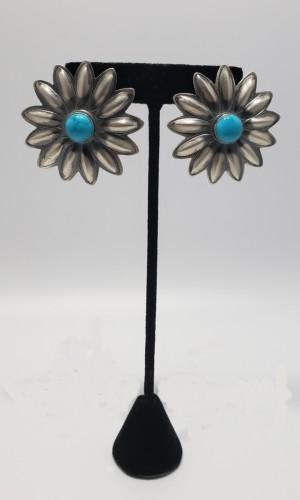 Large Sunflower Post Earrings by Robert Johnson Jewelry