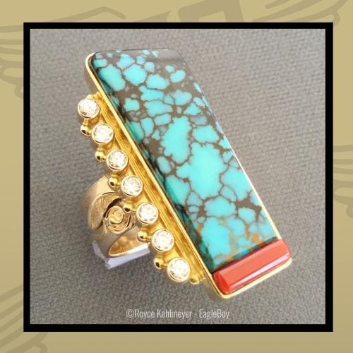 Gold Women's Turquoise Diamond Ring by Royce Kohlmeyer EagleBoy