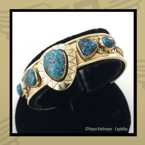 Gold Women's Bracelet with Lander Blue Turquoise by Royce Kohlmeyer EagleBoy