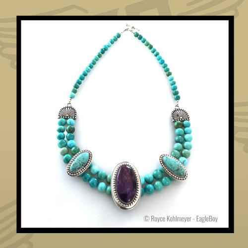 Sugilite, Carico Lake Turquoise and Silver Neckpiece