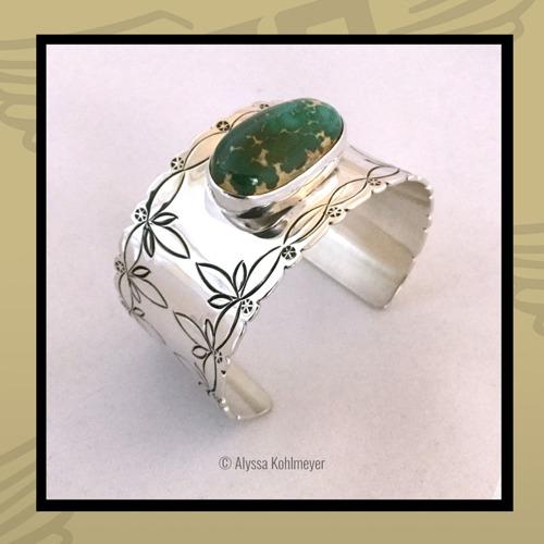 Broken Arrow Variscite, Silver Blossom Bracelet by Royce Kohlmeyer EagleBoy