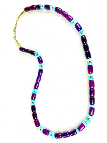Gel sugilite, Sleeping Beauty turquoise, and 18k gold bead necklace