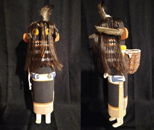 Soyok Wuhti katsina carving with handwoven wicker basket