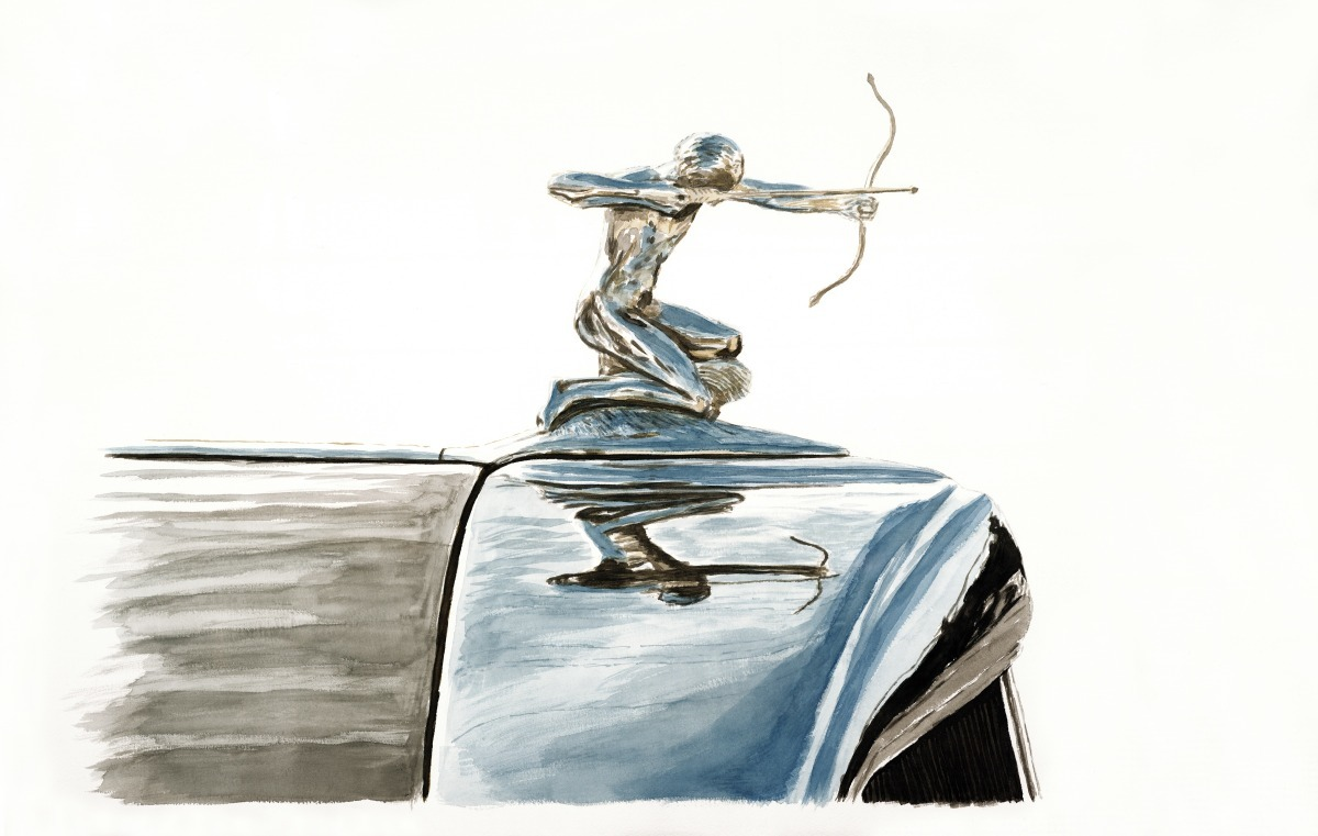 "/""Pierce Arrow Hood Ornament/""  Signed Numbered Giclee By Richard Lewis 4 Sizes"