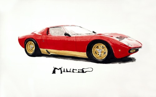 Miura by Automotive art by Richard Lewis