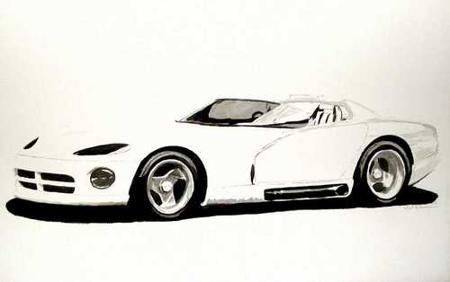 Viper prototype B & W by Automotive art by Richard Lewis