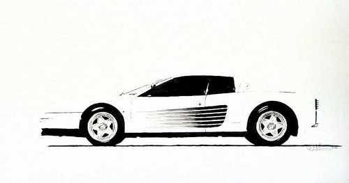 Ferrari Testarossa in B & W (thumbnail)